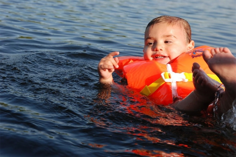Child in life jacket