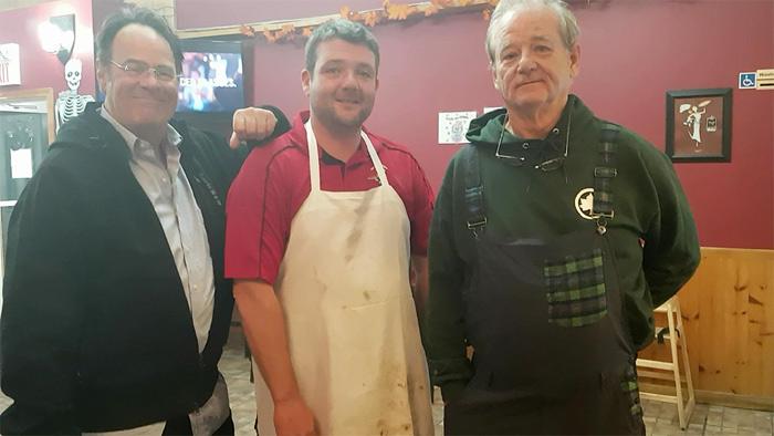 Dan Aykroyd and Bill Murray with Scott Burns in Harrowsmith