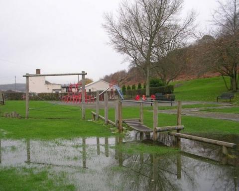 Flooding ina park