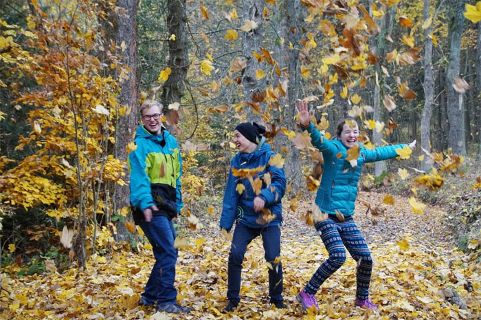 Fun with leaves in the forest