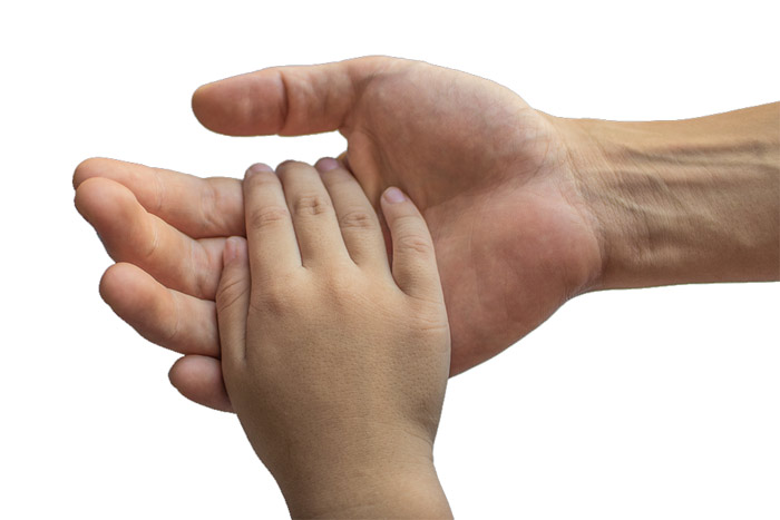 Holding child's hand