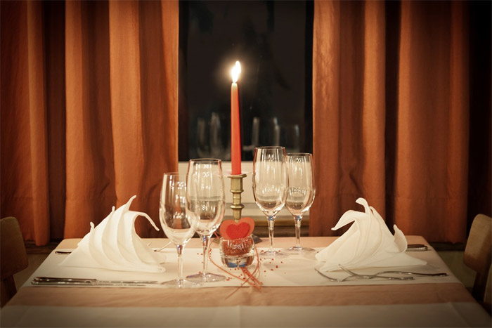 Romantic restaurant dining