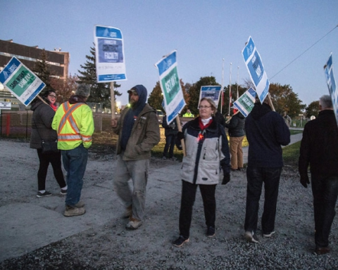 Striking faculty at St. Lawrence College in Kingston