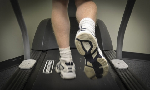 Walking on a treadmill