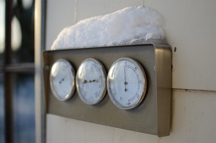 Thermometer in winter
